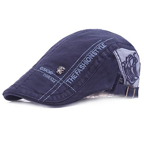 Kuyou Unisex Gatsby Flatcap Schiebermütze Ivy Schirmmütze Kappe (Navy)