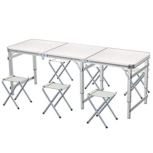 Ostazt Sunflo Table Pliante 6 Pieds avec 6 chaises Table de Camping réglable en Hauteur Portable Table de Barbecue Pique-Nique intérieure et extérieure pour Les Repas avec poignée