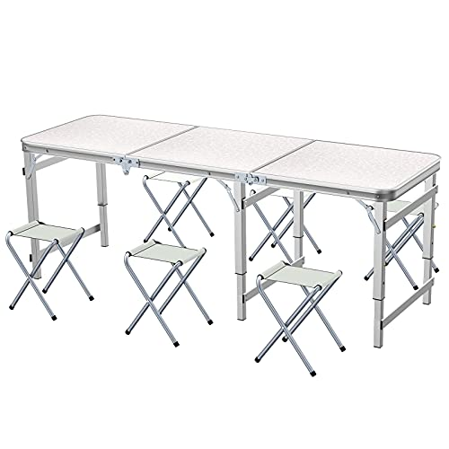 Sunflo Mesa Plegable 6 pies con 6 sillas Mesa para Acampar de Altura Ajustable y portátil Picnic Interior y al Aire Libre Mesa de Comedor con Parrilla
