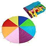 Paracadute arcobaleno multicolore I bambini giocano a paracadute, Sport per bambini Team b...