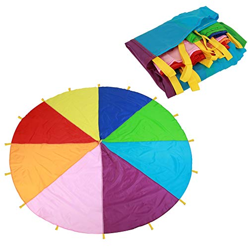 Wifehelper Fallschirm Spielen Zelt Kinder Spiel, Kinder Spielen Mehrfarbige Regenbogen Fallschirm Kinder Outdoor-Spiel Indoor Outdoor Picknick Decke Matten Party Sport Aktivitäten Gruppenübung (3.6m)