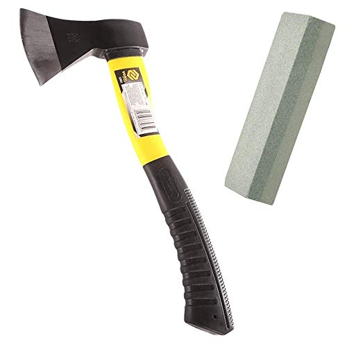Ascia spaccalegna professionale VOREL (600g), accetta spaccalegna in fibra di vetro e manico pvc + pietra affila ascia multiuso