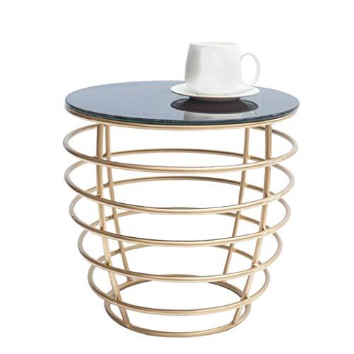 WXiaJ-tavolino da caffè Tavolo Rotondo in Ferro battuto in Vetro temperato Nero