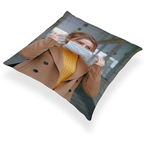 DKE&YMQ Funda de almohada de lino de algodn ligero individual, cuello de manga del producto chaqueta con botn de bebida.