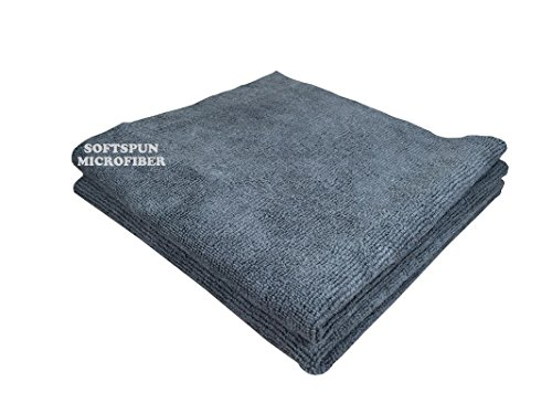 SOFTSPUN Microfiber Cleaning Cloths, 2pcs 40x40cms 340GSM Grey! Highly Absorbent, Lint and Streak Free, Multi -Purpose Wash Cloth for Kitchen, Car, Window, Stainless Steel, silverware.