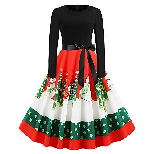 ZEZCLO dames lange mouwen ronde hals Santa Claus print vrije tijd Kerstmis retro festival jurk