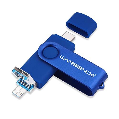 Chiavetta USB 3.0 USB 3 in 1 Wansenda USB tipo C Pen Drive OTG Flash Drive per micro USB Tipo-C dispositivi Android PC Mac (128 GB, blu navy)