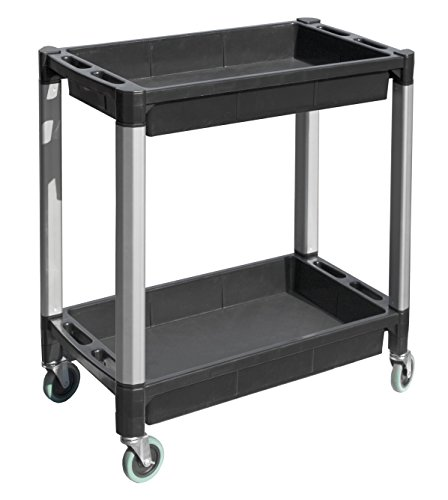 MaxWorks 80384 Black and Gray Two-Tray Service/Utility Cart