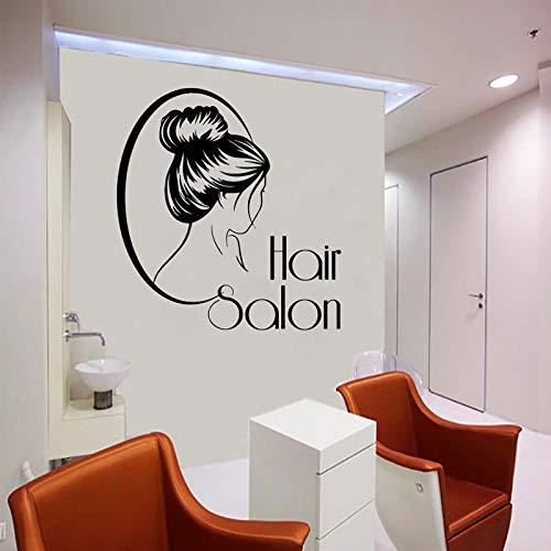 Kjlfow Calcomanía de Pared de salón, Pegatinas de Vinilo de barbería, Espejo de barbería, Ventana, decoración de peluquería, decoración de salón de peluquería 57x62 cm
