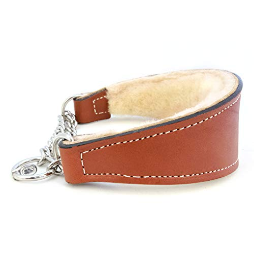 Sheepskin Lined Leather Martingale Dog Collar 1in wide by 12in - Tan