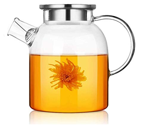 LDJ - Tetera de cristal resistente al calor, tetera gruesa para hacer té para la oficina en casa, hervidor de gran capacidad con tapa