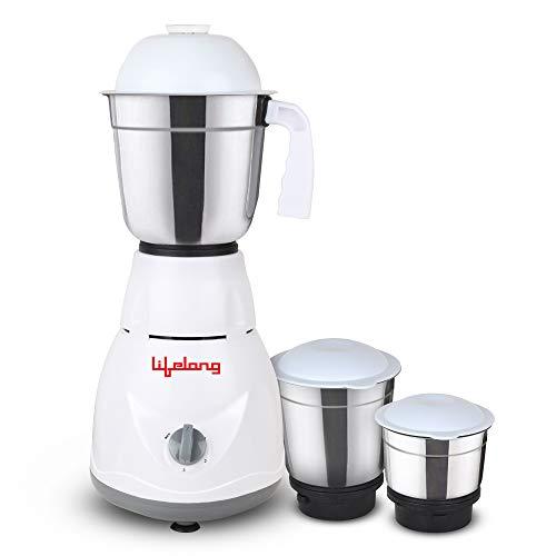 Lifelong Power 500-Watt Mixer Grinder with 3 Jars (White/Grey)