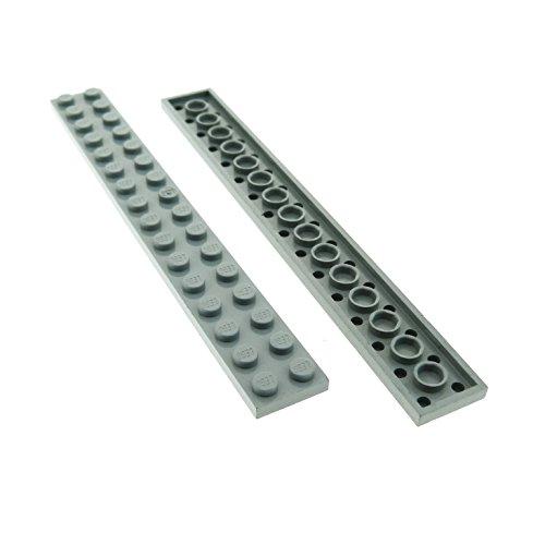 Preisvergleich Produktbild 2 x Lego System Leiste Basic Bau Platte Stein neu-hell grau 2 x 16 für Set Star Wars 70816 60097 10143 75827 5985 75095 76023 21103 4282