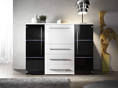 KRYSPOL Kommode BARI Anrichte, Mehrzweckschrank, Modern Design (Weiß/Weiß Glanz/Schwarz Glanz)
