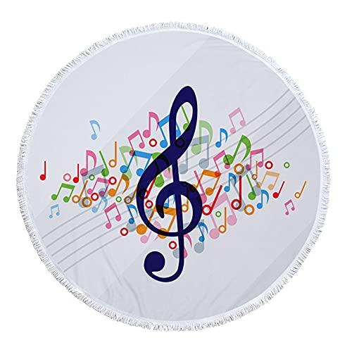 KEITA Música Note Playa Toallas Ducha Verano Redondo Microfibra Toalla Yoga Matta Manta Toalla con borlas (Color : Towel 3)
