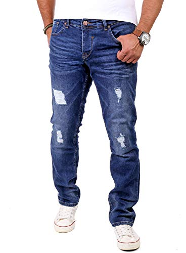 Reslad Jeans Herren Destroyed Look Slim Fit Denim Strech Jeans-Hose RS-2062 (W30 / L30, Blau)