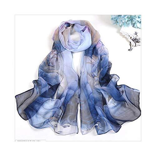 XIAOXINGXING Le Donne del Loto del Foglio di Modo Sciarpa del Fiore Stampa Elegante Chiffon Sciarpe Bandana Lungo (Color : 4)
