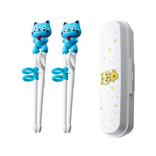 FansQ 2 Stück Trainingsstäbchen für Anfänger mit Assistent, geeignet für Anfänger, Senioren und Kinder zum Trainieren von Stäbchen, chinesischen Stäbchen, süßem Tierstäbchengeschirr, blau
