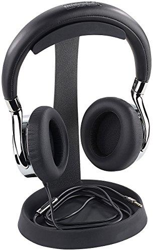 auvisio Kopfhörerhalter: Massiver universeller Metall-Kopfhörer-Ständer, Kabelablage, schwarz (Headset Halterung)