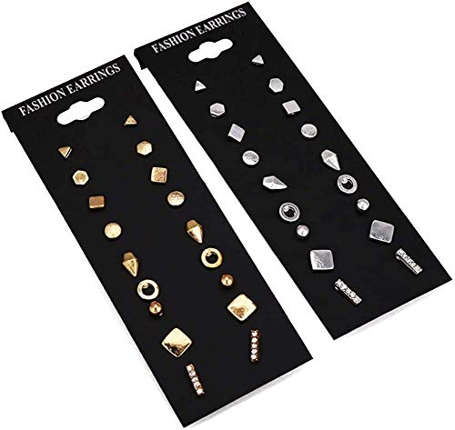 9pairs/set Simple Vintage Geometric Crystal Stud Earrings Set Charm Trendy Gold/silver Alloy Punk Earrings Women Causal Jewelry Accessories Gift(Silver,one size)