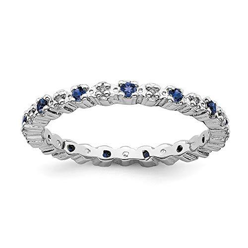 Plata esterlina apilable expresiones CR. Zafiro y anillo de diamantes en bruto - tamaño J 1/2 - JewelryWeb