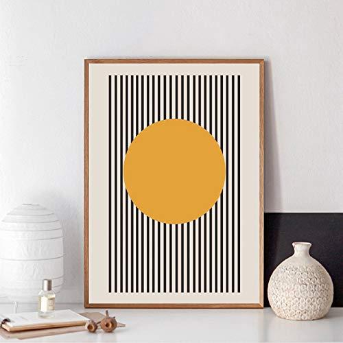 juou Esposizione Bauhaus Poster Geometrico Unico Arte Minimalista Stampa su Tela Pittura Astratta Immagine Parete per Camera Complementi Arredo Casa 50x75 cm Senza Cornice