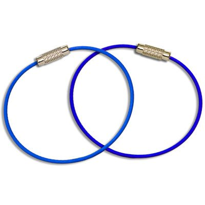 MantaRings - Cable Key Ring with Screw Lock - Strong, Flexible, Waterproof. One Ring for Keys and So Much More (2 Pack) (Blue)