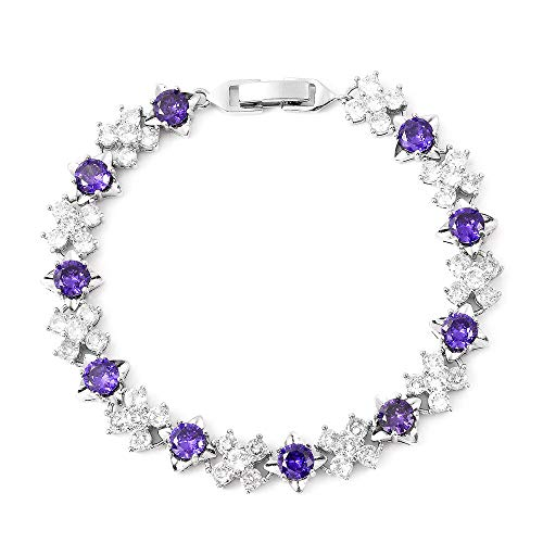 Simulated Diamond and Simulated Amethyst Tennis Bracelet Size 6.75 in Silver Tone