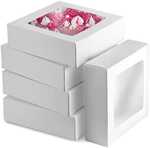 8 inch Pie Boxes With Window 25 Pack 8x8 Bakery Box White Treat Box Auto Popup Baked Boxes for product image