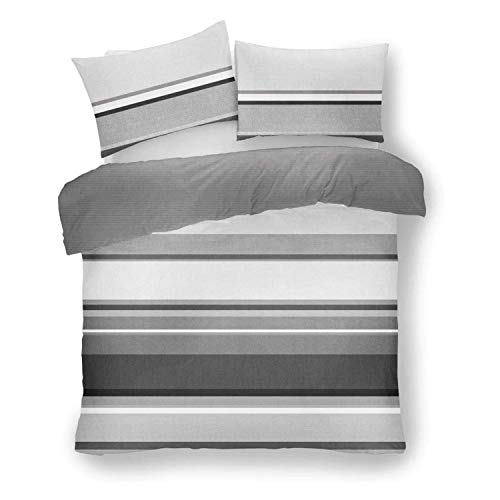 Lions Banded Stripe Duvet Cover Set with Pillowcase, Soft Reversible Bedding, Striped Pattern Quilt (Grey, Double)