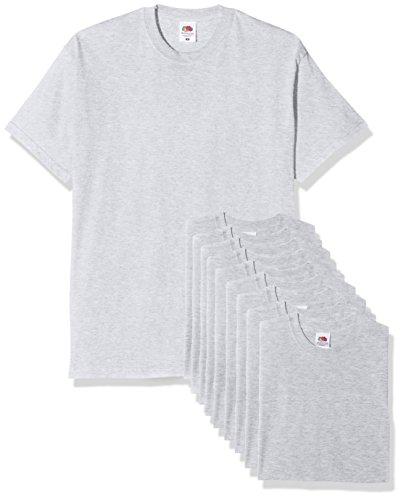Fruit of the Loom Original T. Camiseta, Gris, XL (Pack de 10) para Hombre