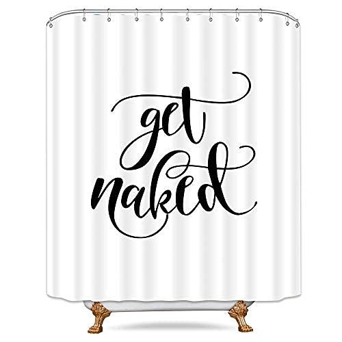 Fashion Get Naked Cortina de ducha en blanco y negro ganchos de plástico conciso decoración Set poliéster impermeable tela de 36 x 72 pulgadas para baño