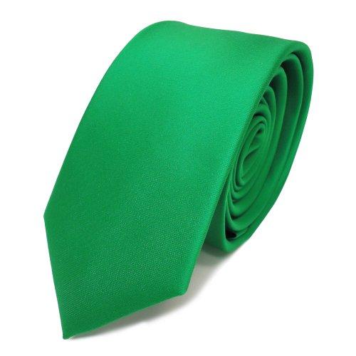 TigerTie schmale Satin Krawatte in grün leuchtgrün einfarbig uni