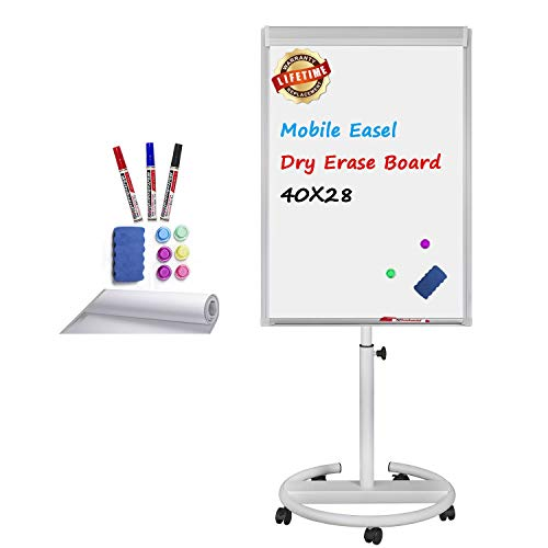 Mobile Whiteboard Magnetic Dry Erase Board Height Adjustable Movable Round Stand Easel Flipchart White Board with Paper Pad, Magnets, Dry Erase Markers, Eraser, 40x28 inch (White)