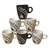 Juego de 6 tazas de café (150 ml, cerámica)...