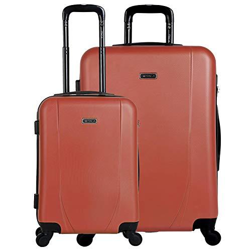 ITACA - Juego de Maletas de Viaje Ligeras 2 Pzs. Set Trolley ABS 4 Ruedas (Cabina + Grande) Rígidas y Resistentes. Conjunto Equipaje Avión. 71117, Color Coral-Antracita