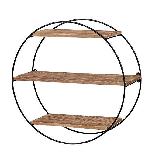 KAThome 4U Floating Shelves Wall Mounted, Rustic Round Shelving Unit, Decorative Wall Shelf for Bedroom, Bathroom, Living Room, Kitchen, Office and More