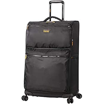 Lucas Designer Luggage Collection - Expandable 24 Inch Softside Bag - Durable Mid-sized Ultra Lightweight Checked Suitcase with 8-Rolling Spinner Wheels  Black