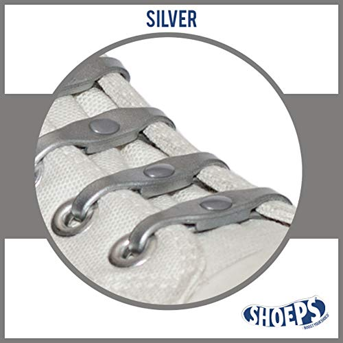 Shoeps Elastic Schnürsenkel, gelb, Normal (14 im Pack), silber, Normal (14 im Pack)