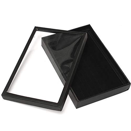 qazwsx Caja De Exhibición De Joyería De Anillo De Ranuras, Caja Organizadora De Estuches,Caja De Regalo para Mujer, Caso con Joyería De Ventana Caja De Almacenaje (Color : Black)