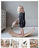 Wooden Balance Board Wobbel Kids Curvy Rocker Board Wooden Yoga Board Spin, Rock, Slide (Natural)