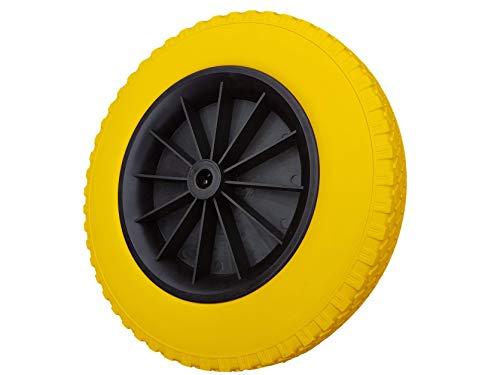 Frosal Schubkarrenrad 400 mm pannensicher | PU Rad Schubkarre | Ersatzrad 4.80/4.00-8 Kunststoff-Felge schwarz | Reifen 75 mm Breite