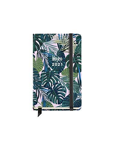 Miquel Rius - Agenda Escolar Tropical Curso Lectivo 2020-2021, Español, Día Página, Tamaño 117x182 mm, Papel 80g, Cierre de Goma Elástica y Lomo Cosido, Color Verde