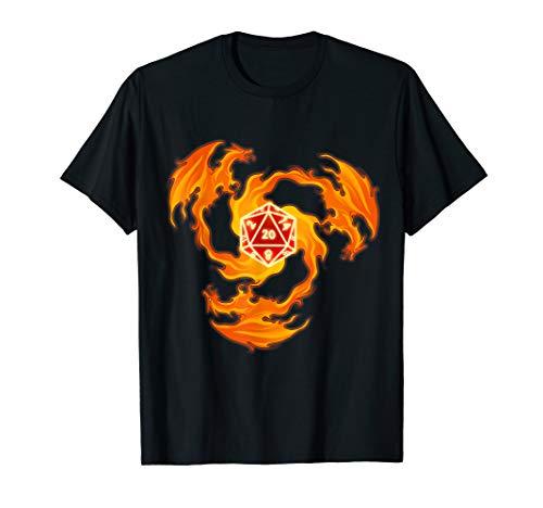 Feuer Drache W20 Würfel Fantasy Rollenspiel Brettspiel Shirt