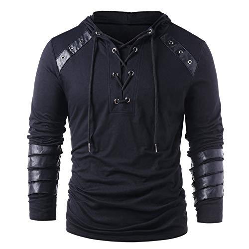 Xmiral Herren Kapuzenoberteile Kordelzug Vintage Leder Patchwork Langarm Sweatshirt Tops Pullover(b-Schwarz,XXL)