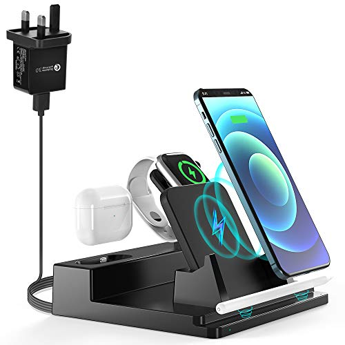 NEXGADGET 5 in 1 Wireless Charging Station for Multiple Devices Fast Charger Dock for AirPods Apple Watch iPhone Apple Pencil 2 Stand for iPad - Quick Charge Adapter Included