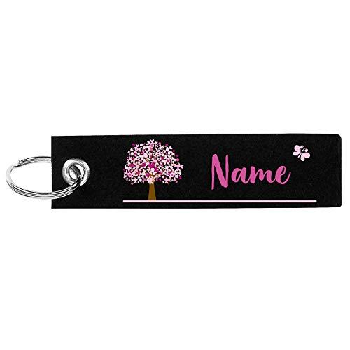 Herz & Heim® Schlüsselanhänger aus Filz mit Aufdruck Ihres Namens und Lebensbaum Schwarz Rosa