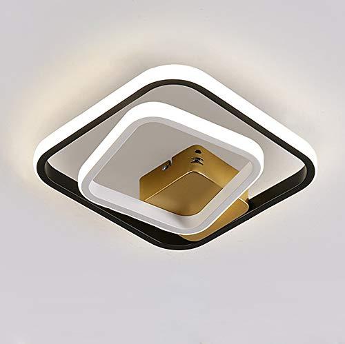 Lámpara de Techo LED Moderna Plafón Pasillo Regulable, Luz de Pasillo Cuadrada en Blanco y Negro, Luces de Metal Decorativas Modernas, Luz para Escalera Balcón Cocina 36W L25cm