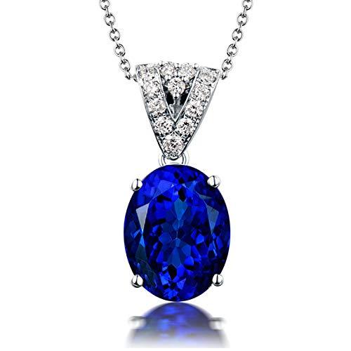 Beydodo Halskette 18 Karat Damen mit Diamant, 4-Steg-Krappenfassung 3.56ct Oval Tansanit Anhänger Kette Charms für Frauen Hochzeit 45CM