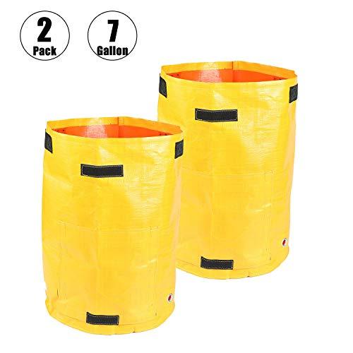 Bolsas de cultivo de patata amarilla para jardín duraderas de plantas de cultivo portátil al aire libre interior de verduras bolsas con asa de acceso a la solapa impermeable contenedores bolsas